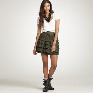 J. Crew Green Silk Crinkled Tier Mini Skirt